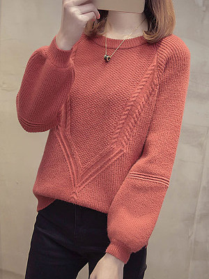 Round  Neck  Patchwork  Brief  Plain  Long Sleeve Knit Pullover