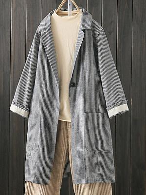 Notch Lapel Decorative Button Striped Blazers, 8520359