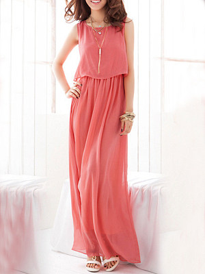 Round Neck  Fashion Plain Maxi Dress collar_&_neckline:round neck, dress_silhouette:empire line, length:midi, material:chiffon, occasion:basic,beach,casual, package_included:dress*1, pattern_type:plain, season:summer, sleeve_length:sleeveless, style:basic, how_to_wash:cold gentle machine wash, supplementary_matters:all dimensions are measured manually with a deviation of 2 to 4cm., length:124,shoulder:37,bust:90,waist:70,