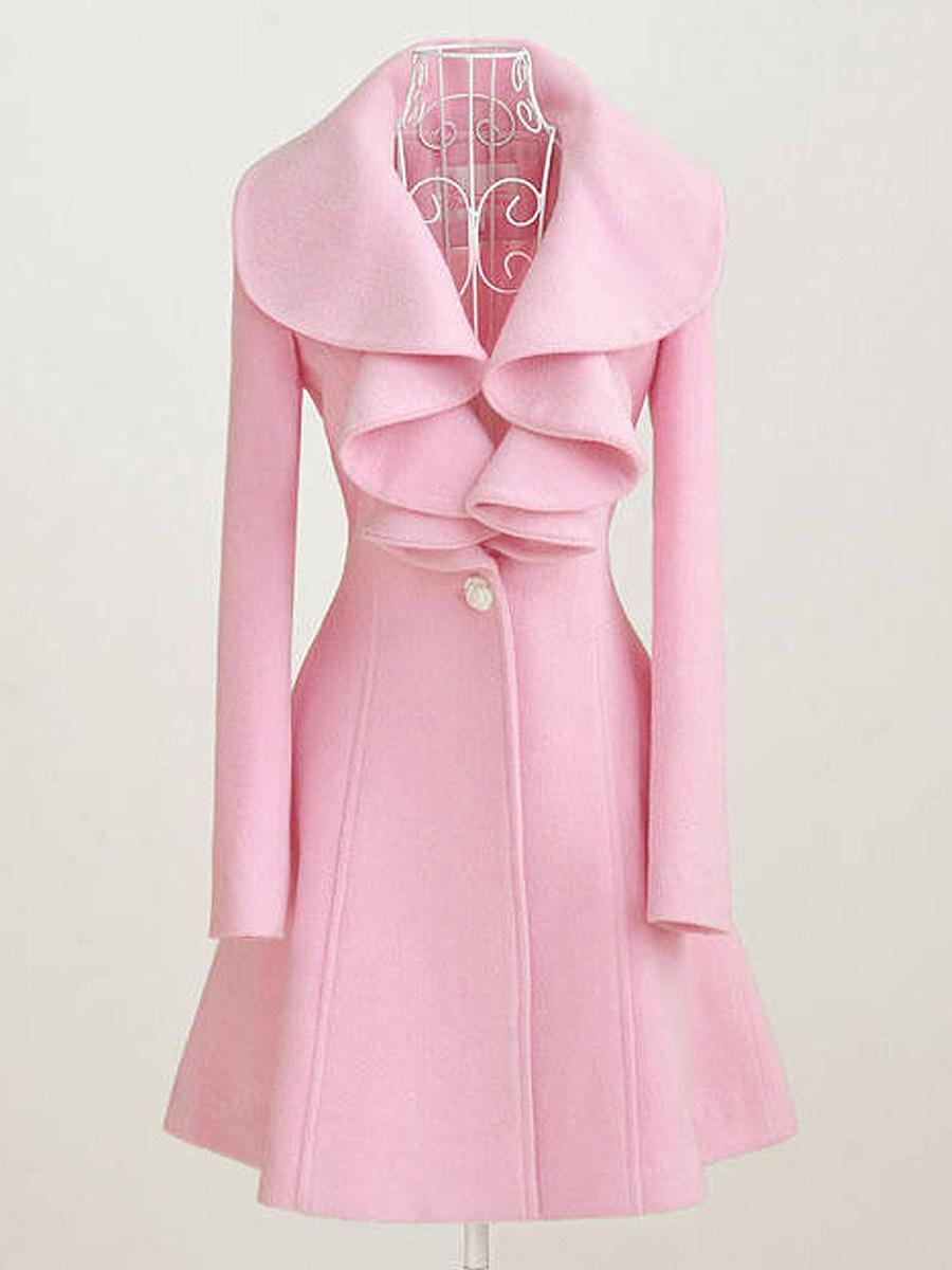 Asymmetric Neck  Decorative Button  Plain  Long Sleeve Coats