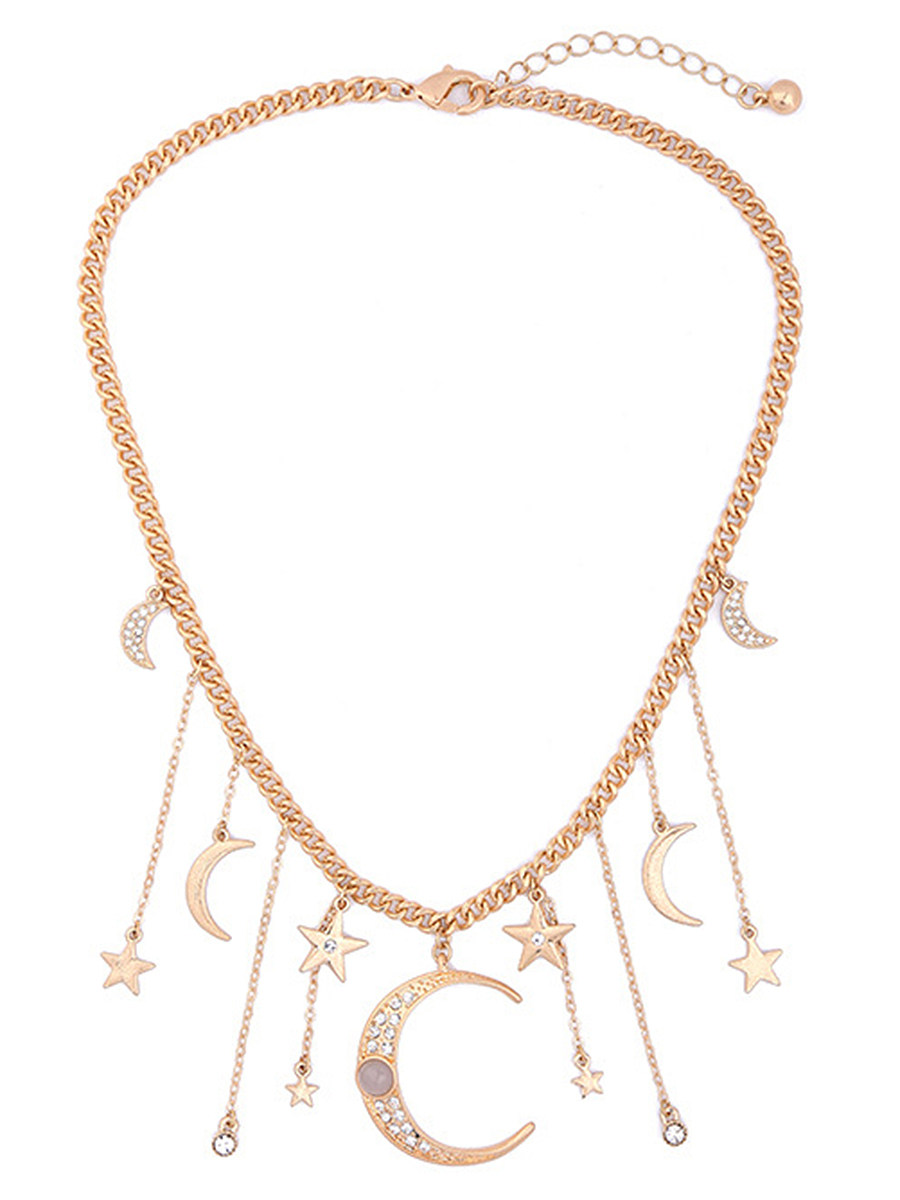 Crescent Star Pendant Chain Necklace