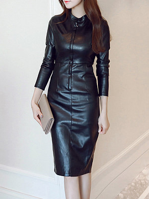 Fold-Over Collar Plain Blend Bodycon Dress, 4079574