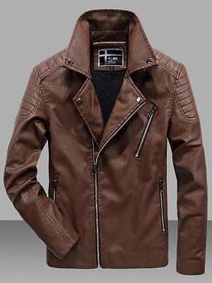 Men Lapel Fleece Lined Zips Pocket PU Leather Plain Jacket