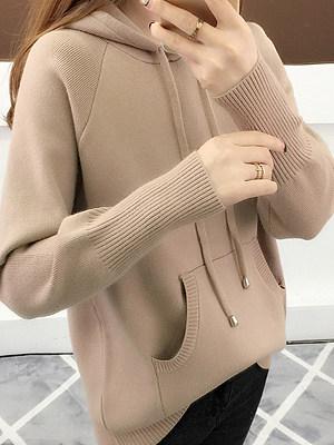 Hooded  Kangaroo Pocket  Plain  Long Sleeve Sweaters Pullover