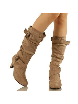 Plain  Chunky  High Heeled  Velvet  Round Toe  Date Outdoor  Knee High High Heels Boots