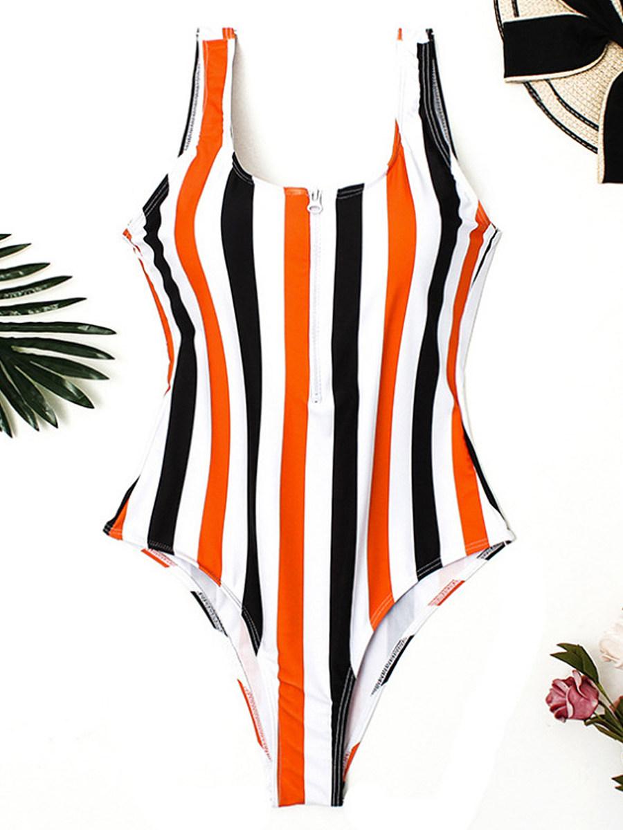 BerryLook Zipper  Color Block Striped One Piece Swimwear