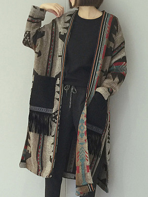 Side Slit Slit Pocket  Tribal Printed Coats
