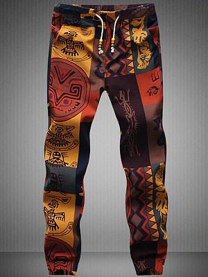 Tribal Printed Men\'s Drawstring Elastic Waist Casual Pants