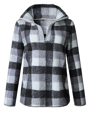 Fashion Lapel V Neck Zipper Long Sleeve Plaids Sweatershirts, 5398220