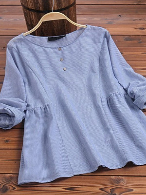 Round Neck Patchwork Decorative Button Striped Long Sleeve Blouse, 8507424