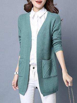 Medium Elegant Plain Long Sleeve Knit Cardigan, 9496535