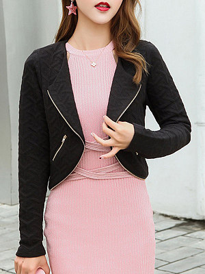 Fold Over Collar Zipper Plain Blazer фото