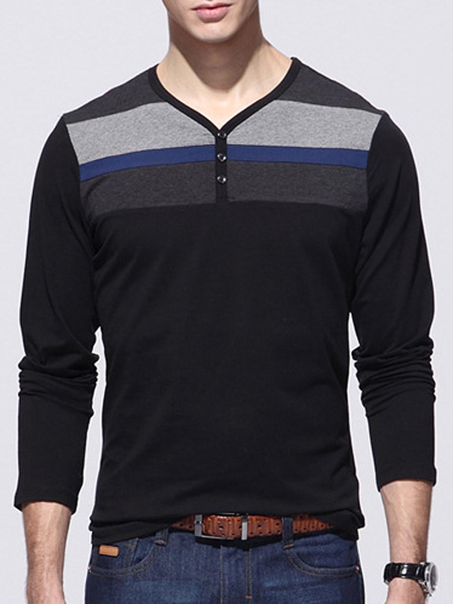 Men Casual V-Neck Striped T-Shirt