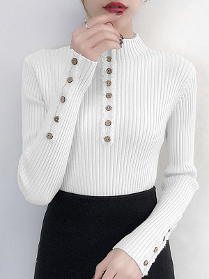 Short High Collar Brief Decorative Button Plain Long Sleeve Knit Pullover, 9636890