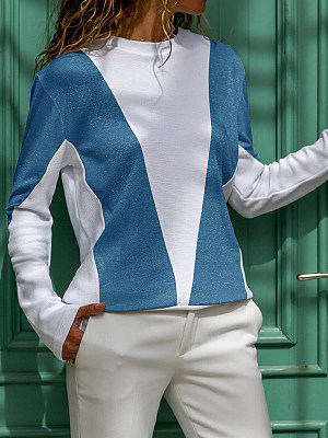 Round Neck Patchwork Casual Colouring Long Sleeve T-Shirts, 7901005