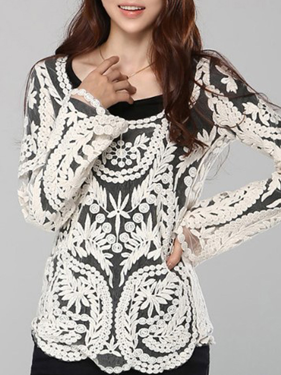Round Neck  Decorative Lace  Lace Pullover