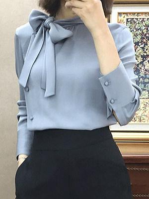 Autumn Spring  Women  Tie Collar  Plain  Long Sleeve Blouses