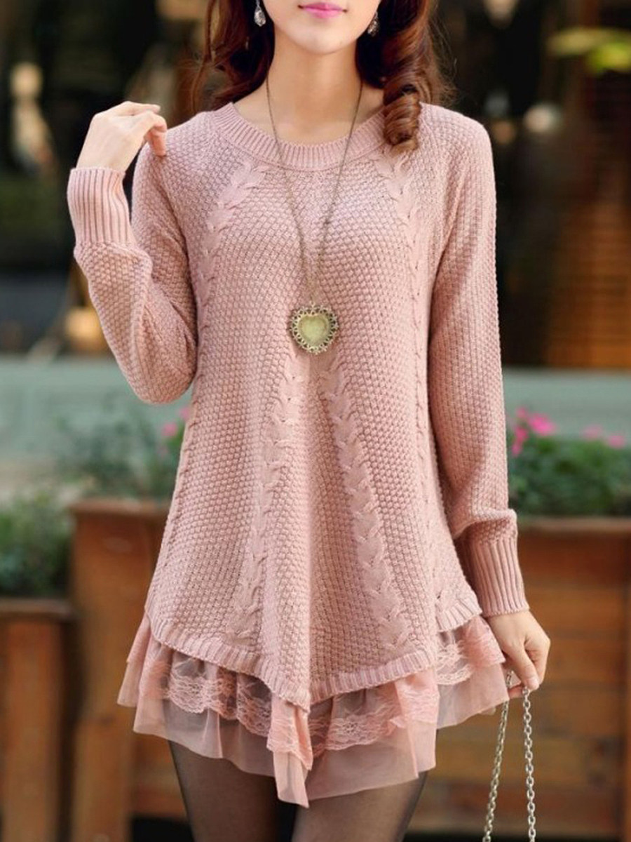 V-Neck  Decorative Lace  Plain Pullover