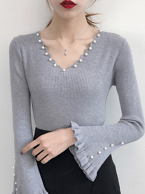V-Neck Beading Plain Long Sleeve Sweaters Pullover
