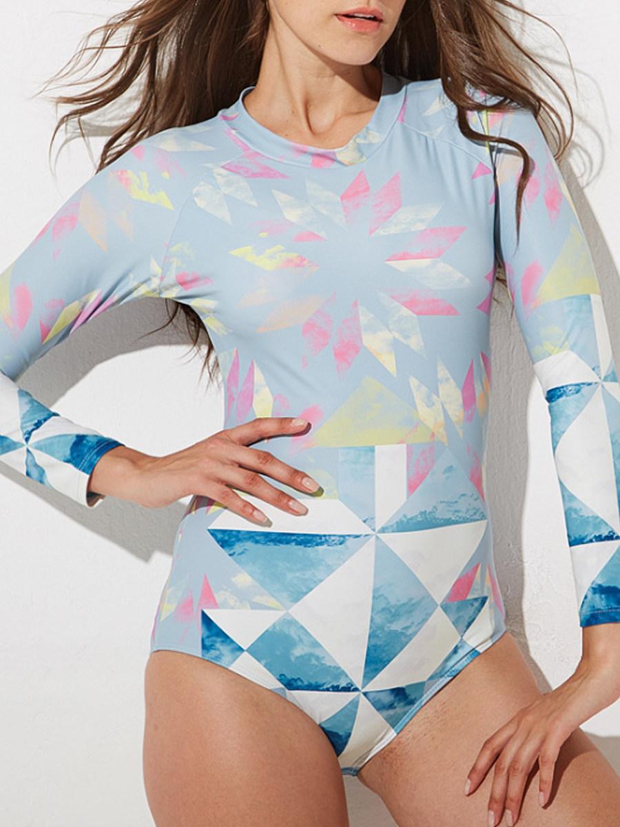 BerryLook Round Neck  Printed Long Sleeve One Piece Swimwear
