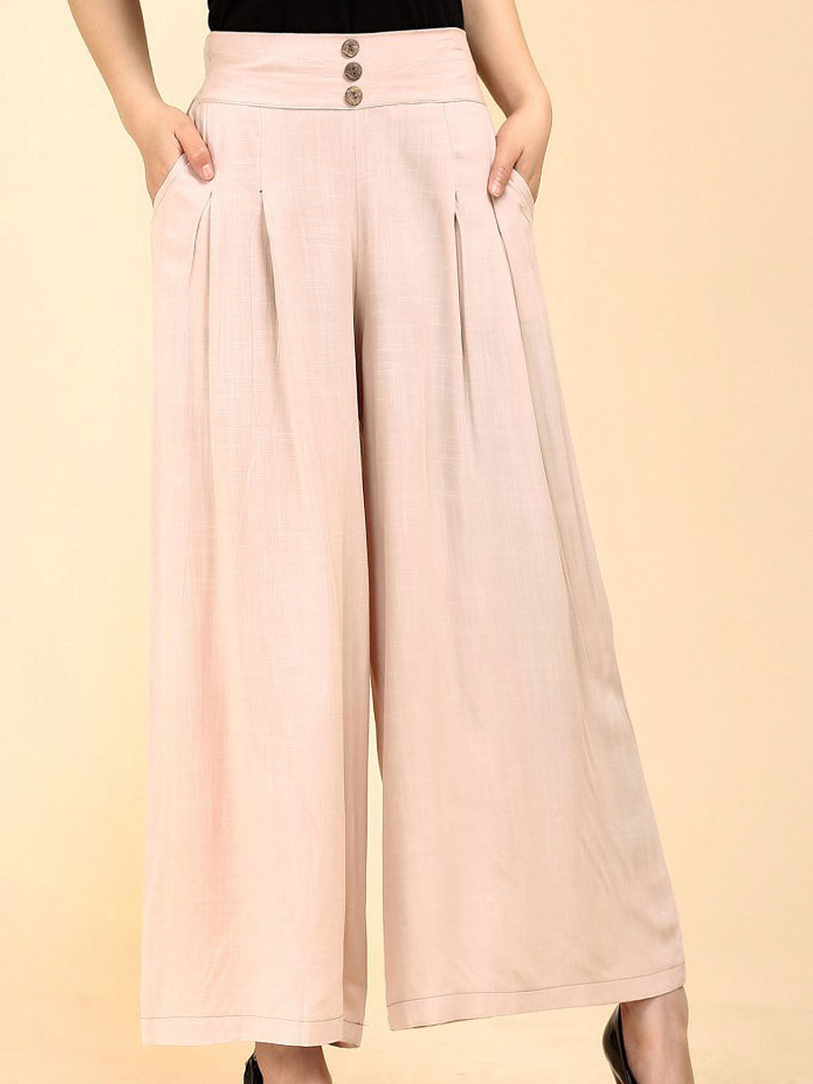 Plain  Wide-Leg  High-Rise Casual Pants