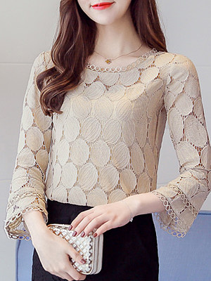 Round Neck Plain Bell Sleeve Blouses фото