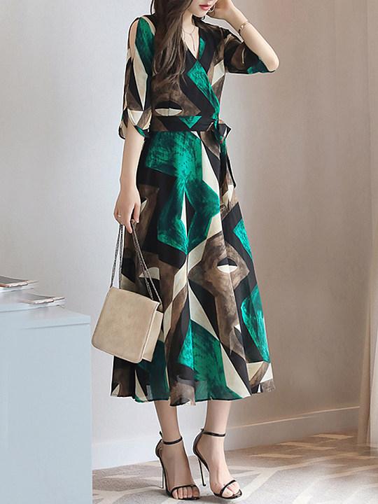 Surplice Belt Print Maxi Dress