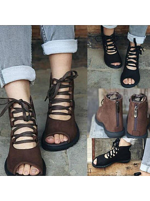 Plain  Flat  Criss Cross  Peep Toe  Outdoor Flat Sandals