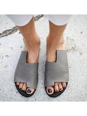 Berrylook Plain Flat Peep Toe Casual Slippers clothing stores, online,