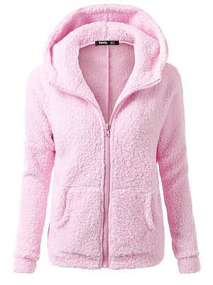 Hooded  Slit Pocket Zips  Plain  Long Sleeve Coats