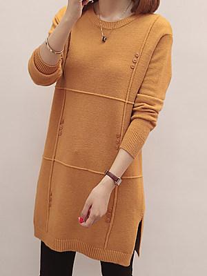 Round Neck  Plain Knit Pullover