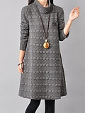 High Neck Plain Embossed Shift Dress - $28.95
