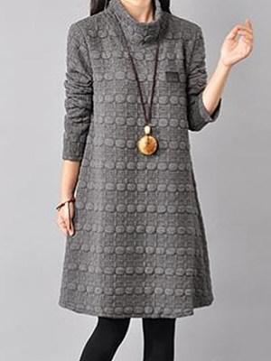 High Neck Plain Embossed Shift Dress фото