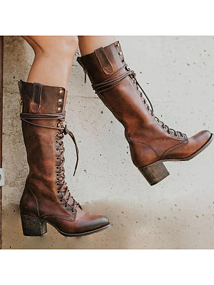 Distressed Plain Chunky Round Toe Boots, 9023151