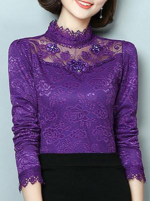 Tachibana Patchwork Beads Elegant Lace Long Sleeve Blouse, 9417828