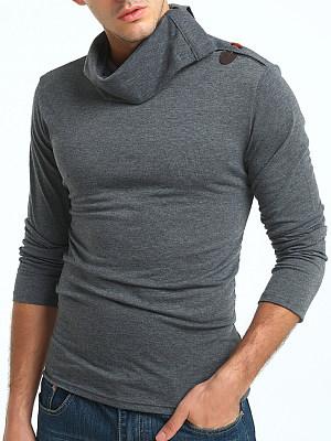 Men Turtleneck Plain Long Sleeve T-Shirt