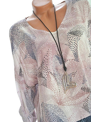 Autumn Spring Cotton Blend Women Round Neck Floral Printed Long Sleeve Blouses