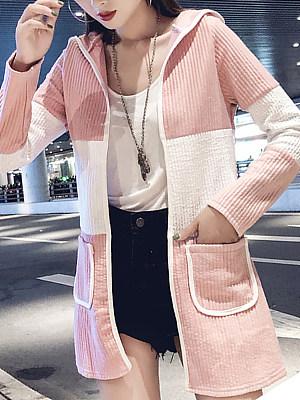 Hooded  Slit Pocket  Color Block  Long Sleeve Trench Coats