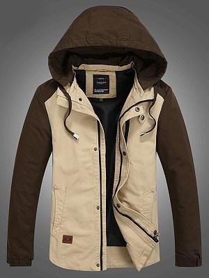 Hooded  Patchwork  Plain Men Jacket