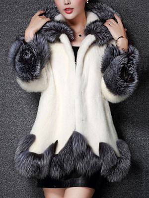 Hooded Color Block Faux Fur Coat