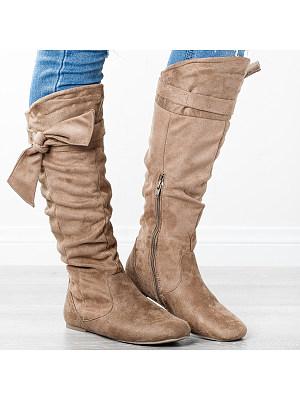 Plain Flat Velvet Round Toe Date Outdoor Thigh High Flat Boots, 8509577