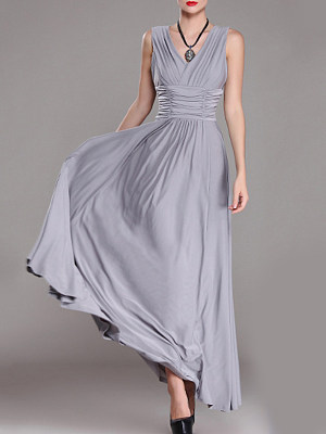V Neck  Plain Maxi Dress