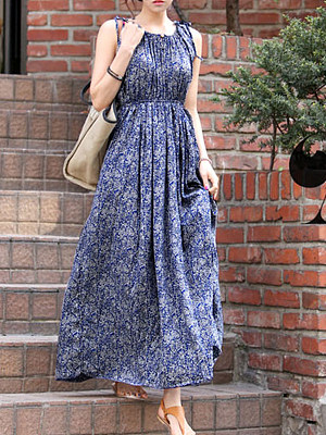 Berrylook coupon: Round Neck  Elastic Waist  Printed Maxi Dress