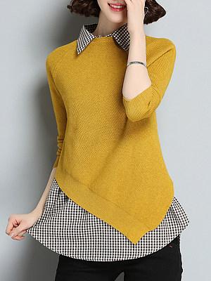 Lapel  Plaid  Elegant  Plaid  Long Sleeve  Two-Piece Knit Pullover
