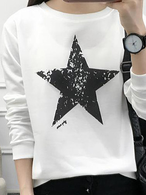 Round Neck  Star Long Sleeve T-Shirts