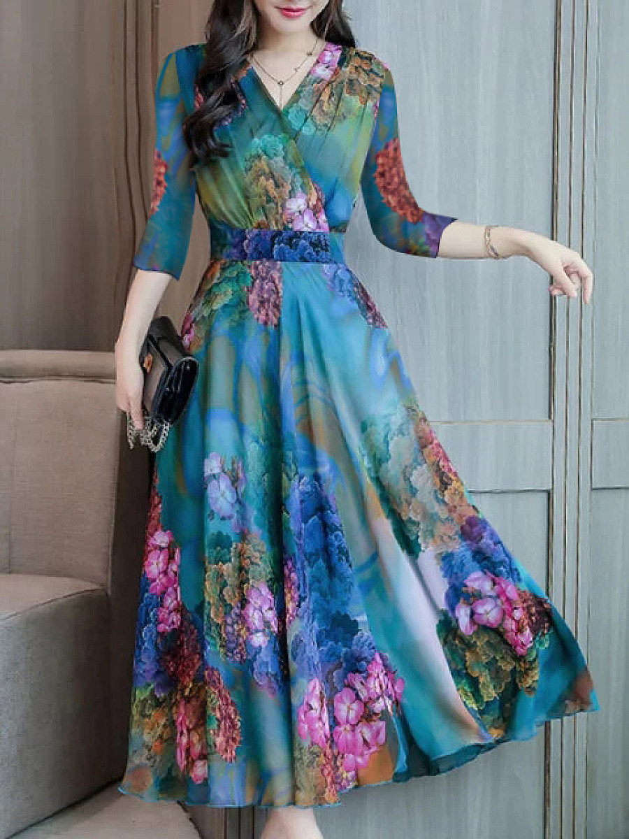 Image of Abstract Style Print Dress Maxi Dres