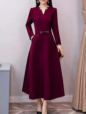V Neck  Patch Pocket  Plain Maxi Dress