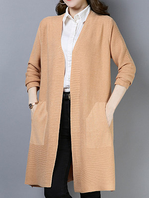 Brief Plain Long Sleeve Knit Cardigan, 9379055