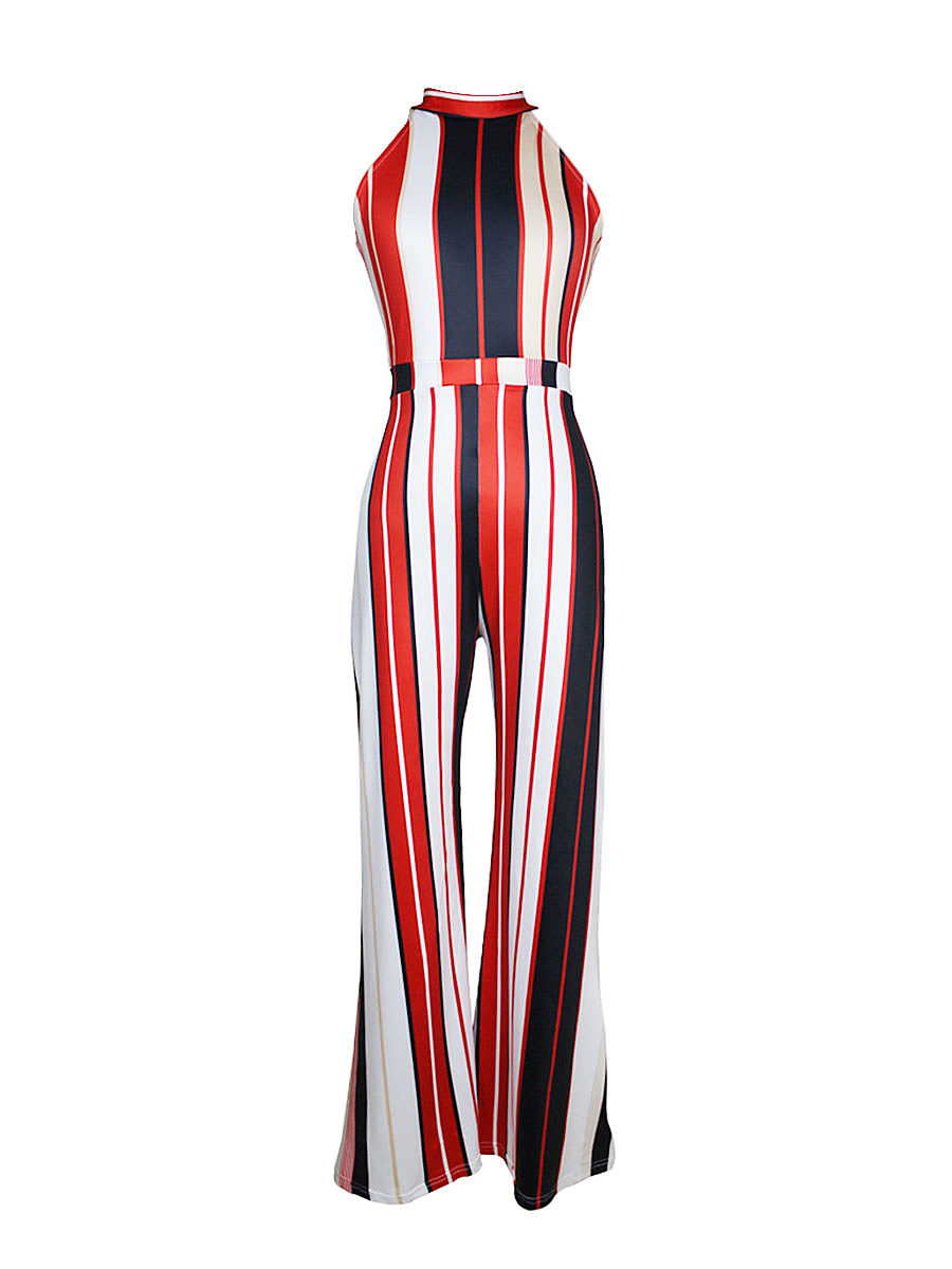 BerryLook Vertical Striped Band Collar Wide-Leg Jumpsuit