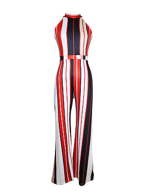 db1345d8740 Vertical Striped Band Collar Wide-Leg Jumpsuit